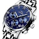 ieftine Ceasuri Bărbați-KINYUED Bărbați Ceas de Mână Aviation Watch Oțel inoxidabil Argint 30 m Rezistent la Apă Calendar Cronograf Analog Lux Clasic Casual Modă - Negru Argintiu / Iluminat