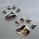 رخيصةأون جسم السيارة الديكور والحماية-زوج تصميم بارد باو سيارة ملصقا 3d الحيوان الكلب القط الدب القدم يطبع البصمة 3 متر صائق ملصقات السيارات الفضة