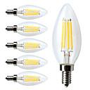 رخيصةأون أقراط-6PCS مصابيحLED 380 lm E12 C35 4 الخرز LED COB تخفيت أبيض دافئ 110-130 V / 6 قطع / بنفايات