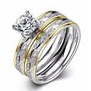 povoljno Prstenje za parove-Žene Band Ring Zaručnički prsten Kubični Zirconia 2pcs Srebro Zircon Titanium Steel Pozlaćeni Circle Shape dame Europska Moda Vjenčanje Party Jewelry Dvobojna Pasijans Lenonice Ljubav