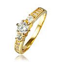 ieftine Inele-Pentru femei Inel Zirconiu Cubic Auriu Golden 2 18K Placat cu Aur Placat Auriu femei Nuntă Petrecere Bijuterii Solitaire grup simulat