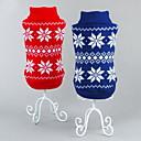 ieftine Pet Costume de Crăciun-Pisici Câine Pulovere Crăciun Iarnă Îmbrăcăminte Câini Rosu Albastru Costume Bumbac Fulg zăpadă Clasic Crăciun Anul Nou XS S M L XL XXL