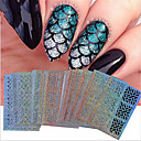24sheets new nail vinyls hollow irregular grid stencil reusable manicure stickers stamping template nail art tools