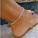 ieftine Colier la Modă-Pentru femei Turcoaz Brățară Gleznă picioare bijuterii Σταυρός femei Cu Mărgele European stil minimalist Modă Turcoaz Brățară Gleznă Bijuterii Argintiu Pentru Petrecere Zilnic