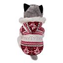رخيصةأون ملابس وإكسسوارات الكلاب-كلب المعاطف هوديس الشتاء ملابس الكلاب بني أحمر كوستيوم قطن ندفة ثلجية الدفء قابل للعكس عيد الميلاد XS S M L XL