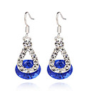 Women's Sapphire Synthetic Diamond Drop Earrings Hanging Earrings Solitaire Cheap Ladies Sterling Silver Resin Earrings Jewelry Red / Blue / Pink Wedding Party Daily Casual Masquerade Engagement