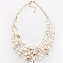 ieftine Colier la Modă-Pentru femei Coliere Choker Multistratificat Plutire femei European Modă Multistratificat Perle Imitație de Perle Aliaj Alb Auriu Coliere Bijuterii Pentru Petrecere Zilnic Casual