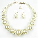ieftine Seturi de Bijuterii-Pentru femei Perle Seturi de bijuterii femei European Perle Imitație de Perle Perlă neagră cercei Bijuterii Negru / Negru / Alb / Alb Pentru Zilnic