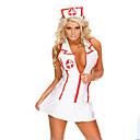billige Halloween Cosplay-Dame Karriere Kostumer Sygeplejeske Hospitalstjeneste Uniformer Køn Cosplay Kostumer Festkostume Farveblok Nederdel Hat / Spandex