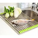 ieftine Organizare Blat & Perete-legume de drenaj roll up de oțel inoxidabil chiuveta uscător rack pliabil suport bucătărie