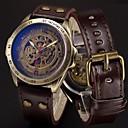 voordelige Merk Horloge-Heren Sporthorloge Skeleton horloge Militair horloge Automatisch opwindmechanisme Roestvrij staal Echt leer Zwart / Blauw / Zilver 50 m Cool Punk Analoog Luxe Vintage Informeel camouflage - Bruin