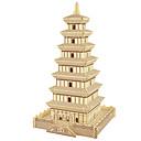 ieftine Colier la Modă-Puzzle Lemn Turn Clădire celebru Arhitectura Chineză nivel profesional De lemn 1 pcs Băieți Fete Jucarii Cadou