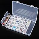 clear plastic 28 slots empty storage box nail art rhinestone tools jewelry beads display storage box case organizer holder