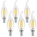 ieftine Ceasuri Bărbați-6pcs 3 W Bec Filet LED 400 lm E12 CA35 4 LED-uri de margele COB Intensitate Luminoasă Reglabilă Decorativ Alb Cald Alb Rece 110-120 V / 6 bc / RoHs