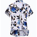 رخيصةأون أدوات الشاي-رجالي شاطئ بوهو طباعة قميص, ورد ياقة كلاسيكية نحيل / كم قصير / الصيف