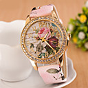 cheap Women's Watches-Women's Wrist Watch Simulated Diamond Watch Diamond Watch Quartz Quilted PU Leather White / Red / Pink Imitation Diamond Analog Ladies Flower Fashion Dress Watch - White Red Pink One Year Battery Life
