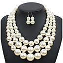 ieftine Seturi de Bijuterii-Pentru femei Perle Seturi de bijuterii colier de trinitate femei Euramerican Elegant extravagant Perle cercei Bijuterii Bej / Cafeniu Închis / Rosu Pentru Nuntă Petrecere Ocazie specială Zilnic