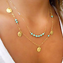 Women's Turquoise Pendant Necklace Double Floating Cheap Ladies Personalized Basic Double-layer Gold Plated Turquoise Alloy Golden Silver Necklace Jewelry Wedding Party Daily Casual Sports