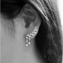 Women's Cubic Zirconia Stud Earrings Ear Climbers Climber Earrings Leaf Drop Cheap Ladies Simple Tassel Elegant Bling Bling everyday Earrings Jewelry Gold / Silver Wedding Party Gift Daily