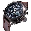 رخيصةأون ساعات الرجال-ASJ رجالي ساعة رقمية ياباني رقمي جلد بني 30 m مقاوم للماء رزنامه الكرونوغراف تناظري-رقمي ترف - أبيض أسود سنتان عمر البطارية / تحكم عن بعد / مضيء / LCD / منطقتا زمنية / ساعة التوقف