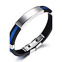 voordelige Heren Armband-Heren ID-armband Rock Modieus Hip-hop Siliconen Armband sieraden Wit / Rood / Blauw Voor Verjaardag Lahja Sport / Titanium Staal