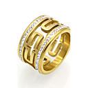 ieftine Inele-Bărbați Pentru femei Band Ring Inel de declarație Inel Zirconiu Cubic Auriu Argintiu 18K Placat cu Aur Zirconiu Cubic Oțel titan Rotund Circular Geometric Shape Personalizat Γεωμετρικά Design Unic