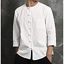 رخيصةأون قمصان رجالي-رجالي كاجوال / النمط الصيني قطن / كتان قميص, لون سادة رقبة دائرية / كم طويل / الربيع / الخريف