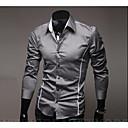 رخيصةأون قمصان رجالي-رجالي عمل الأعمال التجارية أساسي قطن قميص, لون سادة ياقة مفرودة نحيل / كم طويل