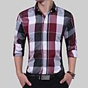 رخيصةأون قمصان رجالي-رجالي مناسب للحفلات / عمل الأعمال التجارية / بوهو / النمط الصيني ستايل رسمي / ستايل قياس كبير - قطن قميص, منقوش / كم طويل