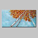 رخيصةأون ديكورات خشب-هانغ رسمت النفط الطلاء رسمت باليد - الأزهار / النباتية ملخص الحديث بدون إطار داخلي