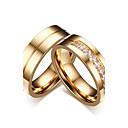 ieftine Inele-Pentru cupluri Inele Cuplu Zirconiu Cubic Auriu Zirconiu Cubic Oțel titan Circle Shape Clasic stil minimalist Elegant Nuntă Petrecere / Seară Bijuterii / Logodnă
