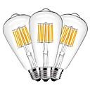 رخيصةأون أضواء شريط LED-مل 3pcs 10 W مصابيحLED 1000 lm E27 ST64 10 الخرز LED COB ديكور أبيض دافئ 220-240 V / 3 قطع