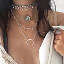 ieftine Ceasuri Damă-Pentru femei Coliere Layered Geometric stivuibil Floare Semilună dublu corn femei Bikini Modă Euramerican Aliaj Argintiu Coliere Bijuterii Pentru Petrecere
