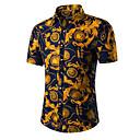رخيصةأون قمصان رجالي-رجالي عتيق قطن قميص, ورد / ترايبال ياقة كلاسيكية / كم قصير / الصيف