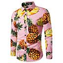 رخيصةأون قمصان رجالي-رجالي عمل طباعة قطن قميص, فاكهة أناناس / كم طويل / الخريف