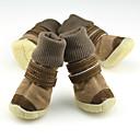 رخيصةأون مستلزمات وأغراض العناية بالكلاب-كلب أحذية و جزم الدفء لون سادة للحيوانات الأليفة جلد PU أسود / الشتاء