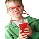 رخيصةأون أزهار اصطناعية-2 قطع النظارات تصميم القش مضحك لينة نظارات القش فريدة مرنة الشرب أنبوب الاطفال الملونة البلاستيك الشرب diy القش شريط accesso (لون عشوائي)