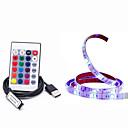 ieftine Manete RGB-1m lumini cu bandă rgb 30 leduri 5050 smd 10mm 1 telecomandă 24keys rgb impermeabil / cuttable / usb 5 v / usb alimentat 1 set / ip65
