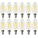 ieftine Colier la Modă-12buc 4W 400 lm Bec Filet LED C35 4 led-uri COB Intensitate Luminoasă Reglabilă Decorativ Alb Cald AC 220-240 AC 110 - 130 V