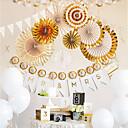 povoljno Ukras za zabavu-8pcs / set zlatna / srebrna rukotvorina papira ventilator rozete sklopivi ventilator cvijet kuće vjenčanja pozadina dekor rođendan pomagala