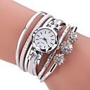 ieftine Ring Bracelets-Pentru femei Ceas Brățară Simulat Diamant Ceas Diamond Watch Quartz Piele PU Matlasată Negru / Alb / Albastru imitație de diamant Analog femei Casual Boem Modă Elegant - Fucsia Albastru Roz Un an