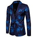 abordables Vestes Homme-Homme Casual / Soirée Printemps / Eté Normal Blazer Col en V Manches Longues Coton / Polyester Imprimé Bleu / Rouge / Mince