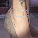 Women's Anklet Cheap Ladies Fashion Anklet Jewelry Silvery / Golden Daily Casual / Rhinestone
