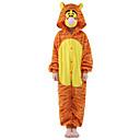 ieftine Machiaj Halloween-Pentru copii Pijama Kigurumi Tigru Animal Pijama Întreagă Flanel Lână Portocaliu Cosplay Pentru Baieti si fete Sleepwear Pentru Animale Desen animat Festival / Sărbătoare Costume