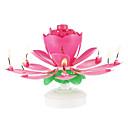 رخيصةأون تزيين المنزل-1 قطعة البلاستيك الغزل الموسيقية زهرة شمعة عيد ميلاد
