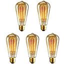 povoljno Sa žarnom niti-5pcs 40 W E26 / E27 ST64 Toplo bijelo 2200-2700 k Retro / Zatamnjen / Ukrasno Žarulja sa žarnom niti Edison 220-240 V