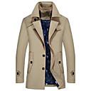 رخيصةأون معطف مطر-رجالي مناسب للبس اليومي الربيع / الخريف قياس كبير طويلة ترانش كوت, لون سادة قبعة القميص كم طويل أكريليك / بوليستر أسود / أزرق فاتح / أزرق البحرية