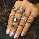 povoljno Prstenje-Žene Prsten Tirkiz 10pcs Zlato Srebro Tirkiz Legura Geometric Shape Statement dame Dnevno Jewelry