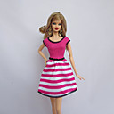 povoljno Komplet nakita-Haljina za lutke Party / Večer Za Barbie Prugasti uzorak Fuschia Poliester Haljina Za Djevojka je Doll igračkama