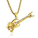 ieftine Cabluri & Adaptoare-Bărbați Coliere cu Pandativ Muzică Chitară Modă Hip-Hop Titan Oțel Auriu Argintiu Coliere Bijuterii Pentru Club Măr